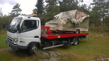 Skrota husvagn i Örnsköldsvik